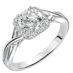 Style 102979-1ct: Diamond Halo Engagement Ring With a Ribbon Inspired Design