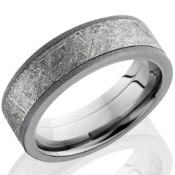 Style 103964: Titanium 7mm Flat Band with 5mm Meteorite