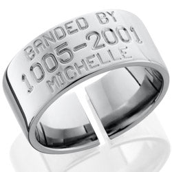 Style 103505: Titanium 10mm Domed Band with Duck Band Engraving