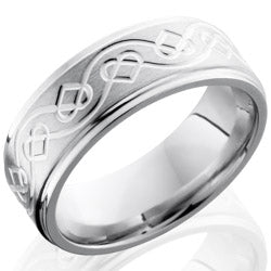 Style 103747: Cobalt Chrome 8mm Flat Band with Grooved Edges and Celtic Pattern