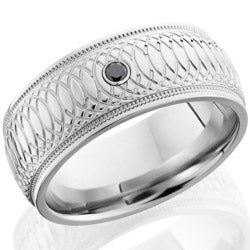 Style 103781: Cobalt Chrome 9mm domed band with grooved edges with milgrain on either side.