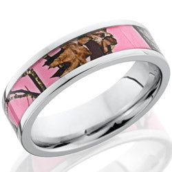Style 103656: Cobalt Chrome 6mm flat band with 4mm Mossy Oak Pink Break-Up pattern