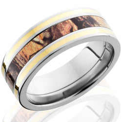 Style 103620: Titanium 8mm Flat Band with 3mm of Realtree AP Camo and Yellow Gold Inlay