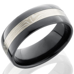 Style 103910: Zirconium 8mm Flat Band with SS and Shakudo Mokume