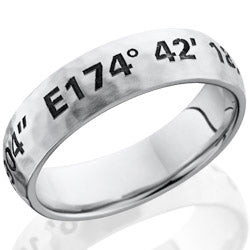 Style 103645: Cobalt Chrome 6mm domed band with customized laser carved coordinates