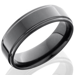 Style 103882: Zirconium 7mm Flat Band with Grooved Edges