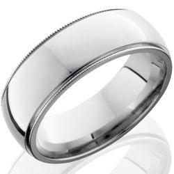 Style 103721: Cobalt Chrome 8mm Domed Band with Milgrain