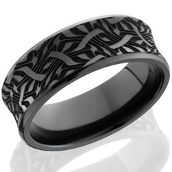 Style 103890: Zirconium 8mm concave beveled band with laser carved Escher 2 design