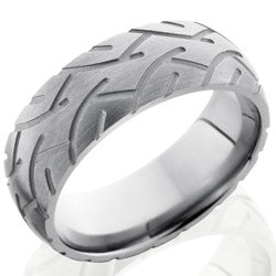 Style 103548: Titanium 8mm Domed Band with Tire Tread Pattern