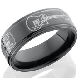 Style 103918: Zirconium 8mm flat band with grooved edges with milled guitar patterns