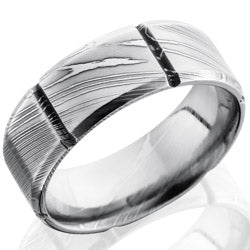 Style 103812: Damascus Steel 8mm Beveled Band with Segmented Pattern