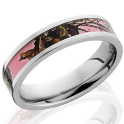 Style 103639: Cobalt Chrome 5mm flat band with 3mm MossyOak Pink Break Up camo