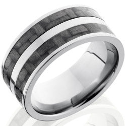 Style 103591: Titanium 10mm Flat Band with 2 stripes of 3mm Carbon Fiber