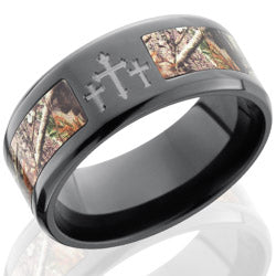 Style 103957: Zirconium 9mm Bevelved Band with 5mm of Realtree AP Camo and Three Crosses