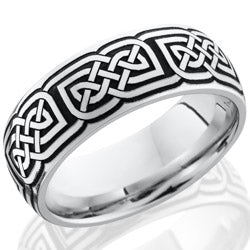 Style 103708: Cobalt Chrome 8mm domed band with laser carved celtic pattern