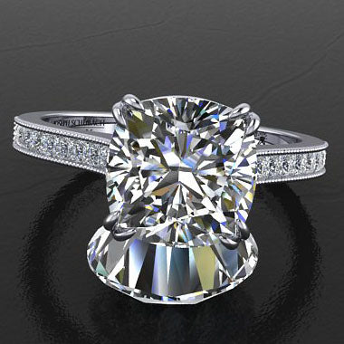 Style 103330: Double Claw Prong Cathedral Engagement Ring With Channel Set Princess Cut Diamonds