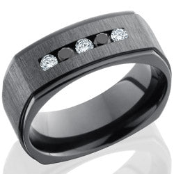 Style 103961: Zirconium 8mm Flat with Grooved Edges and Channel Set White and Black Round Diamonds