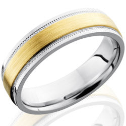 Style 103659: Cobalt Chrome 6mm Flat Band with Grooved Edges and 3mm 14KY