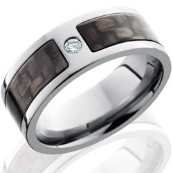 Style 103605: Titanium 8mm Flat Band with 5mm of Carbon Fiber and Flush-set .07 White Round Diamond