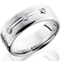 Style 103702: Cobalt Chrome 8mm Domed Band with Beveled Edges, Three Bezel Set .05ct White Diamond