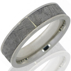 Style 103681: Cobalt Chrome 7mm Flat Band with 5mm Meteorite