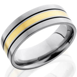 Style 103559: Titanium 8mm Flat Band with 2mm 14KY