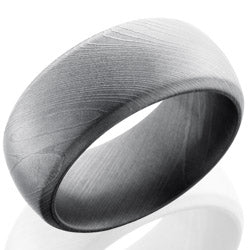 Style 103800: Damascus Steel 10mm Domed Band with Beveled Edges
