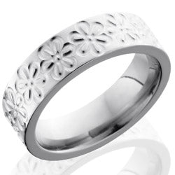 Style 103517: Titanium 6mm Flat Band with Flower Pattern