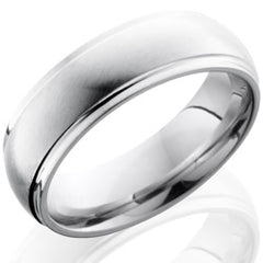 Style 103677: Cobalt Chrome 7mm Domed Band with Grooved Edge