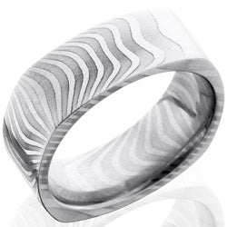 Style 103836: Tiger Patterned Damascus Steel 8mm Flat, Square Band