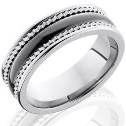 Style 103858: Ceramic and Tungsten 7mm Faceted Band