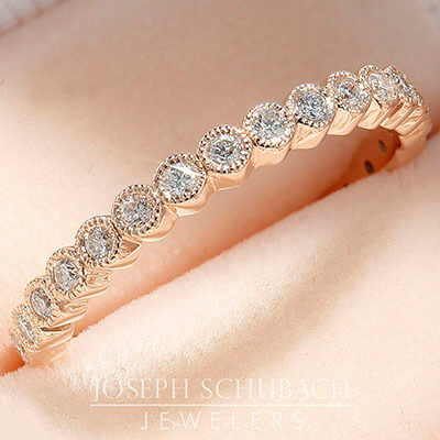 Style 103370: Milgrained bezel set round diamond eternity band, approx .28ct t.w., 2.3mm wide