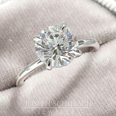 Round Duchess Engagement Ring with Petite Pavé Under Bezel - Stone Detail