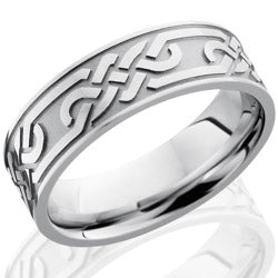 Style 103685: Cobalt Chrome 7mm Flat Band with Celtic Pattern