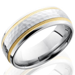 Style 103673: Cobalt Chrome 7mm Domed Band with 2mm Milgrained 14KY