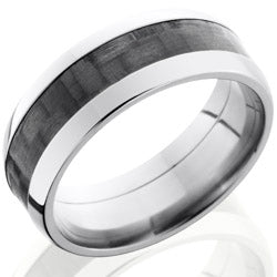 Style 103598: Titanium 8mm Domed Band with 4mm of Carbon Fiber