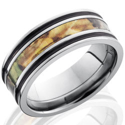 Style 103619: Titanium 8mm Flat Band with 3mm of MossyOak Camo