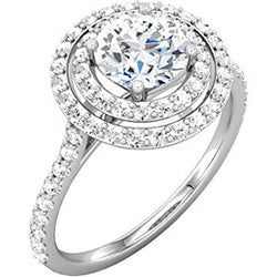 Style 102235-6.5mm: Double Halo Engagement Ring With Round Diamonds