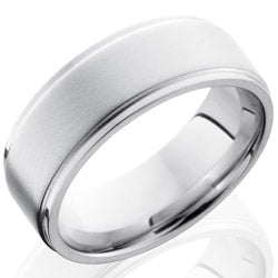 Style 103739: Cobalt Chrome 8mm Flat Band with Grooved Edges