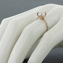 Style 103300: Round Scroll Solitaire Engagement Ring With Diamond Band