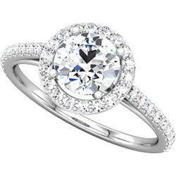 Round Halo Engagement Ring with Diamonds