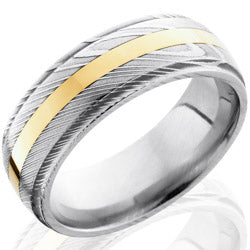 Style 103825: Damascus Steel 8mm Band with 2mm 14KY