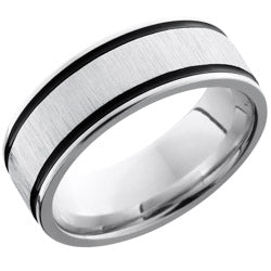 Style 103737: Cobalt Chrome 8mm Flat Band with Antiqued Grooves
