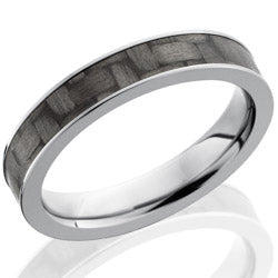Style 103593: Titanium 4mm Flat Band with 3mm of Carbon Fiber