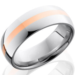 Style 103714: Cobalt Chrome 8mm Domed Band with 2mm 14KR