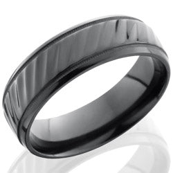 Style 103871: Zirconium 7mm Beveled Band with Milgrain and Striped Pattern