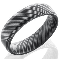 Style 103804: Damascus Steel 6mm Beveled Band