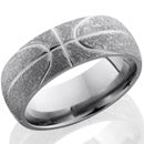 Style 103983: Titanium 8mm domed band with basketball pattern