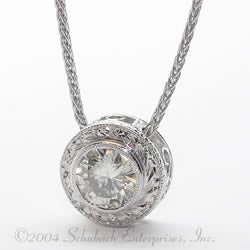 Hand Engraved Round Pendant with Scroll Detailing