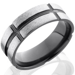 Style 103908: Zirconium 8mm Flat Band with Segmented Pattern